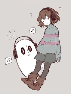 Undertale Fanart Frisk and Napstablook
