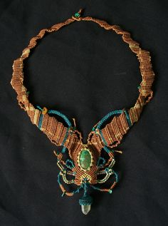Amazon Forest Necklace with Chrysocolla, Smokey Quartz, and Malachite
