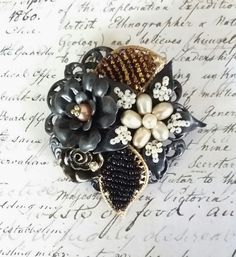 Black Beaded Flower Haskell Style Brooch by FromABygoneTime