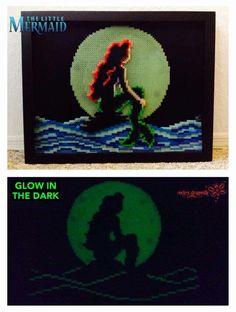 Ariel Glow in the Dark Perler on canvas art piece