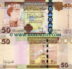 "Libya, 508 Dinar, 2002. Muammar Gaddafi, Revolutionary Chairman of the Libyan Arab Republic, 1969–1977; ""Brotherly Leader"" of the Great Socialist People's Libyan Arab Jamahiriya, 1977–2011."