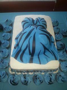 blue zebra pregnant belly cake www.cakesbykimberly.biz www.facebook.com/CakesByKimberlyRitter