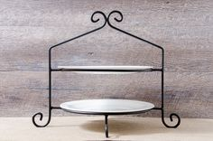 "Black Iron Double Pie Plate Holder Amish Made Length: 17"" Depth: 12"" Height: 13"""
