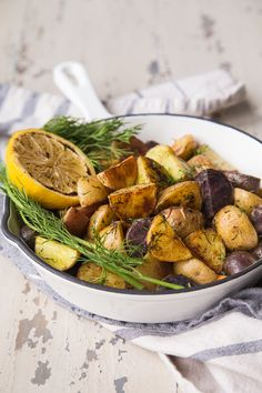 Fresh and easy roasted potatoes with lemon and dill are a great side dish for a weeknight meal or alongside any protein! Easy Weekday Meals, Easy Meals, Side Dish Recipes, Dinner Recipes, Easy Roasted Potatoes, Sicilian Recipes, Croatian Recipes, Vegetarian Recipes, Cooking Recipes