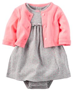Baby Girl 2-Piece Babysoft Bodysuit Dress & Neon Cardigan Set from Carters.com.     9 mo