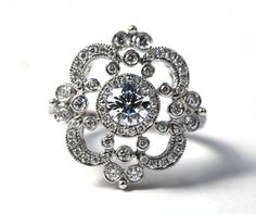 DUCHESS - Platinum - Floral - Round Diamond Engagement Ring or RIGHT Hand Ring - Weddings- Brides - Luxury - Bp0012