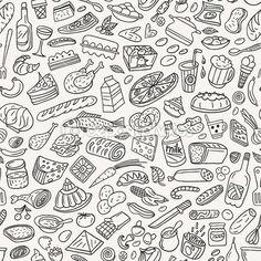 Line drawings of Food - seamless pattern