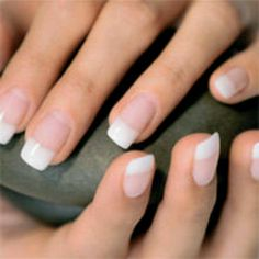 Soft, natural pink and white acrylics
