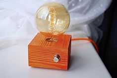 Orange wooden design table lamp with Edison bulb and