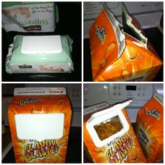 After ripping open the baby wipes to reload my wipes holder, I pulled off the plastic enclosure and decided to reuse it as a snack spout on the GIANT Goldfish box that NEVER closes. Stick the enclosure on (still has a bit of glue from the packaging, open the enclosure and trace the opening, pull it off and cut out the hole using a sharp knife, apply a thin strip of hot glue around hole or back of enclosure and adhere. Voila! Open & snap closed for fresh, non-stale crackers!! :)