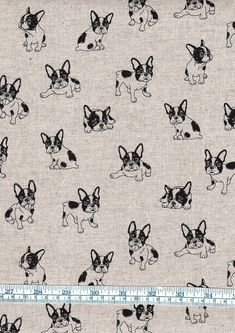 Fat Quarter French Bulldog Dogs On Linen Look 100% Cotton Quilting Fabric