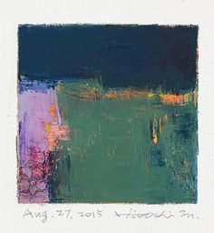 Aug. 27, 2015 - Original Abstract Oil Painting - 9x9 painting (9 x 9 cm - app. 4 x 4 inch) with 8 x 10 inch mat
