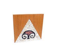 stone mosaic on wood block. cream brown by LaTenagliaImpazzita, €299.00