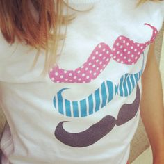 Fun mustache tee for women or kids...3 fun staches and quote 'stache on'. Great for party favor!
