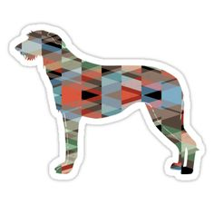 Scottish Deerhound Colorful Geometric Pattern Silhouette by TriPodDogDesign