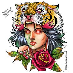 neo traditional, new traditional, mulher, tigre, tiger tattoo - Tattoos Pictures Traditional Tiger Tattoo, Traditional Tattoo Design, Serial Art, First Time Tattoos, Hairstylist Tattoos, Tattoo Catalog, Sunflower Tattoo Sleeve, Body Art Tattoos, Tattoo Ink