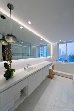 Place Soft Strip Along Bathroom Mirrors To Illuminate The E And Create A Floating Effect Ideas For Bathroomsbathroom Mirrorslighting