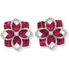 Beautiful Flower Ruby Diamond Earrings