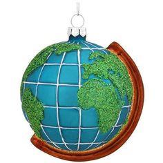 Earth Globe Glass Ornament