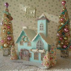 LIGHTED Shabby Aqua Christmas House w/ 3 Bottle Brush Trees