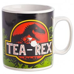 """Tea Rex Jumbo Mug A giant mug for a giant lizard, or perhaps a giant mug for a very thirsty person! This pun mug takes a spin on Jurassic park, because what's more funny than """"tea rex""""? Plus, with 900ml of tea or coffee, you'll definitely quench your thirst. $16.99"""