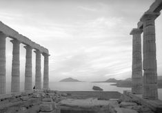 Cape Sounion, Greece May 1959 Temple of Poseidon by nick dewolf photo archive / s. What's past is prologue. Open Your Eyes, Stone Work, Archetypes, Greek Mythology, Photo Archive, Athens, Mount Rushmore, Past, Nature Photography