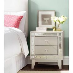 A brilliant reflection of your glamourous style, this splendid two-drawer nightstand lends luxurious elegance to your bedroom ensemble. Made from manufactured wood and solid poplar in a metallic mercury finish, Wingback Headboard, Panel Headboard, Headboards, Panel Bed, 2 Drawer Nightstand, Nightstands, Drawer Knobs, White Sheets, Upholstered Platform Bed