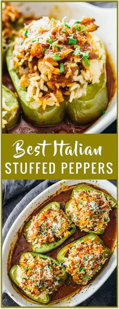 Easy italian stuffed peppers recipe - This is an easy recipe for Italian stuffed peppers that are loaded with sweet Italian sausage and rice, and paired with a slightly spicy balsamic tomato sauce. vi (Sausage Recipes For Dinner) Beef Recipes, Vegetarian Recipes, Cooking Recipes, Healthy Recipes, Easy Recipes, Vegetable Recipes, Healthy Meals, Chicken Recipes, Shrimp Recipes