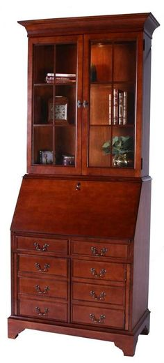 Butler elegant hand carved wood secretary desk with drawers in plantation cherry desk with - Modern secretary desk with hutch ...
