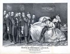 """""""Death of President Lincoln"""" by Currier & Ives, 1865. People in the room: 12 (Tad was never actually there)."""