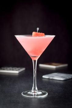 Vertical view of the wonderful watermelon cosmo cocktail