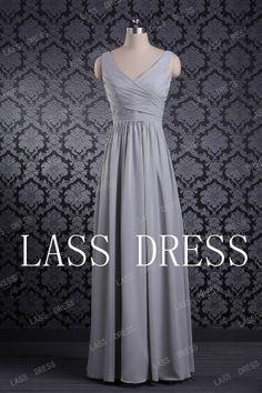 Possible bridesmaid dress - Column Vneck  Chiffon  Evening Dress by lassdress on Etsy, $88.00
