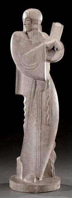 JAN et JOËL MARTEL (1896-1966) | «La joueuse de luth» - Sculpture en plâtre patiné façon terre cuite 1932.