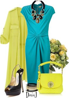 """""""Blue and Yellow"""" by dimij on Polyvore"""
