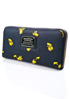 Loungefly X Pokémon Pikachu Print Wallet cuz you've caught the best one of them all! This special collaboration features your favorite Pokemon, Pikachu, printed all over on a vegan leather body. With a long wallet construction, this bb can store multiple cards, cash, and complete with a zip closure.
