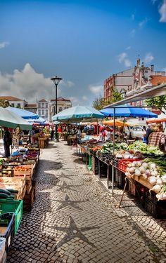 Fruit and flower market, held every morning in Caldas da Rainha, Leiria, Central Portugal.