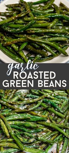 Easy Roasted Garlic Green Beans – Crazy for Crust We love to roast green beans! Garlic Roasted Green Beans are the perfect easy side dish! This is the best green beans recipe for dinner. Veggie Side Dishes, Vegetable Sides, Side Dishes Easy, Side Dish Recipes, Food Dishes, Recipes Dinner, Recepies For Dinner, Roast Dinner Side Dishes, Holiday Side Dishes