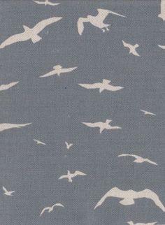 Seagulls fabric, Storm Blue - Peony  Sage