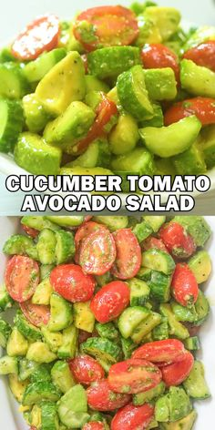 This Cucumber Tomato Avocado Salad is an easy, scrumptious summer salad. Its crunchy, fresh, and made with everyday ingredients. Its a family favorite. Cooktoria for more deliciousness! Avocado Tomato Salad, Avocado Salad Recipes, Healthy Salad Recipes, Easy Healthy Dinners, Raw Food Recipes, Healthy Snacks, Vegetarian Recipes, Healthy Eating, Raw Vegan Dinners