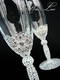 Wedding champagne glasses with a beautiful white by ArtsLux, $48.00