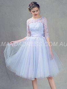 amandadress.com.au SUPPLIES Lace All Sizes Bowknot A-line Short Sleeves Scoop Winter Glamorous & Dramatic Dress Purple Bridesmaid Dresses