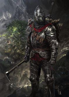 m Fighter Hvy Armor Helm War Pick Hills deciduous forest ( lg Warrior Concept Art, Fantasy Concept Art, Armor Concept, Fantasy Armor, Fantasy Character Design, Character Art, Medieval Knight, Medieval Armor, Medieval Fantasy