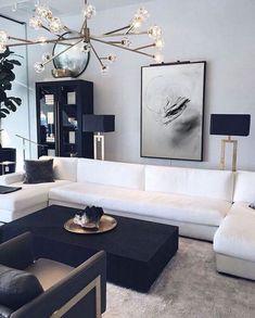 Living Room Grey, Living Room Modern, Home Living Room, Black And White Living Room Ideas, Black Living Room Furniture, Cozy Living, Interior Design Minimalist, Modern Interior, Design Room