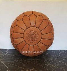 Moroccan Leather Pouf,Light Tan Moroccan Pouffe with Brown stitching , Foot Stool, Hand-stitched Pouf, Ottoman,Foot-rest