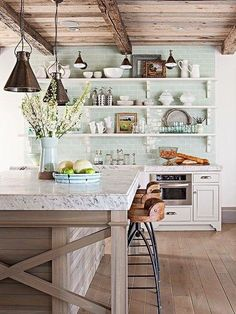 Green Backsplash Ideas: Boring backsplash got you down? Take a cue from nature's hues, and update your kitchen with one of our creative yet functional ideas for a gorgeous green backsplash. Home Kitchens, Green Backsplash, Rustic Kitchen, Kitchen Remodel, Kitchen Design, Parisian Kitchen, Kitchen Inspirations, Kitchen Dining Room, Kitchen Decor