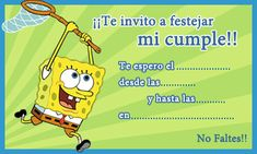 99 Invitaciones de cumpleaños para niños y niñas para imprimir - Las Mejores Imagenes online Anthony Bennett, Party Kit, Sticky Notes, Spongebob, Party Printables, Family Guy, Invitations, Memes, Birthday