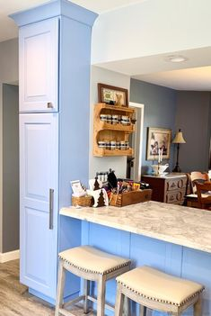 Custom Blue Kitchen Remodel - Village Home Stores Blog Mirror Wall Tiles, Kitchen Storage Solutions, Kitchen Installation, At Home Store, White Stone, Kitchen Remodel, Layout, Cabinet, Blog