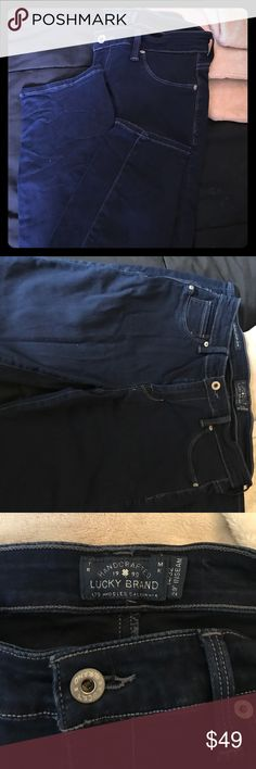 Lucky brand jeggings Lucky Brand Brooke jegging jeans - NEVER WORN. NWOT. Dark blue wash and very stretchy and flexible. Size 14. Perfect length on me and im about 5'5. Lucky Brand Jeans Skinny