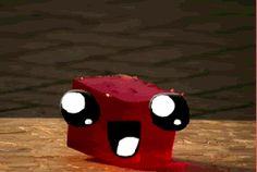 If you're ever sad, here's a kawaii piece of JELL-O jumping up and down for you.