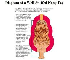Kong Classic will keep them busy for quite a while. Good mental workout. Diagram of a well stuffed Kong toy. For more Kong recipes go to http://www.kongcompany.com/recipes/